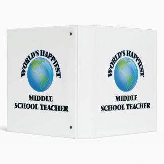 World's Happiest Middle School Teacher 3 Ring Binders