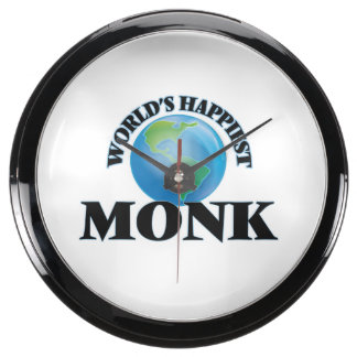 World's Happiest Monk Fish Tank Clock