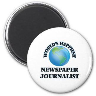 World's Happiest Newspaper Journalist 2 Inch Round Magnet