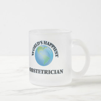 World's Happiest Obstetrician Frosted Glass Mug