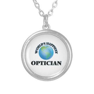 World's Happiest Optician Round Pendant Necklace