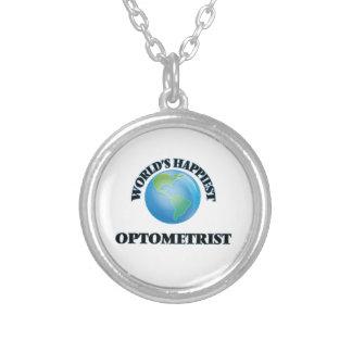 World's Happiest Optometrist Round Pendant Necklace