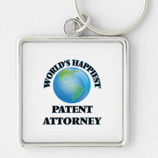 World's Happiest Patent Attorney Silver-Colored Square Keychain