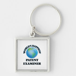 World's Happiest Patent Examiner Silver-Colored Square Keychain