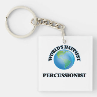 World's Happiest Percussionist Single-Sided Square Acrylic Keychain