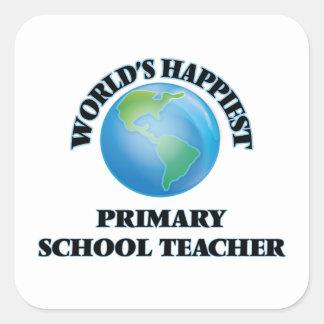 World's Happiest Primary School Teacher Square Sticker