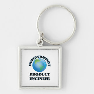 World's Happiest Product Engineer Silver-Colored Square Keychain