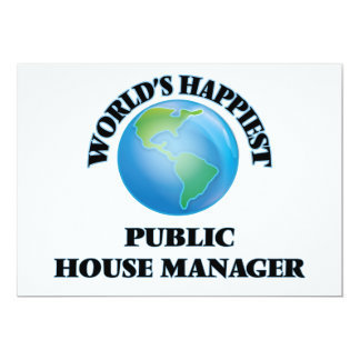 """World's Happiest Public House Manager 5"""" X 7"""" Invitation Card"""
