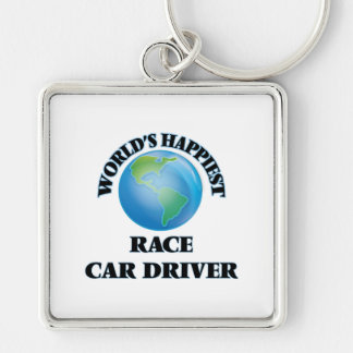World's Happiest Race Car Driver Silver-Colored Square Keychain