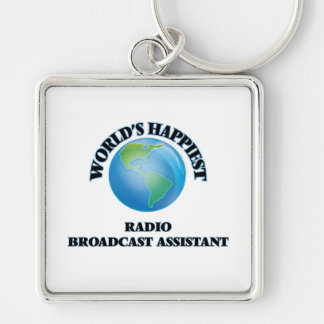 World's Happiest Radio Broadcast Assistant Silver-Colored Square Keychain