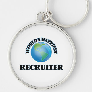 World's Happiest Recruiter Silver-Colored Round Keychain