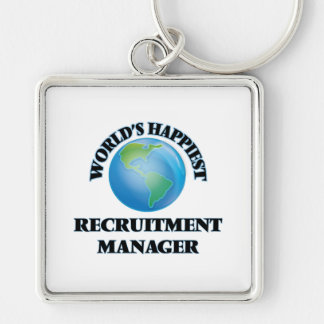 World's Happiest Recruitment Manager Silver-Colored Square Keychain