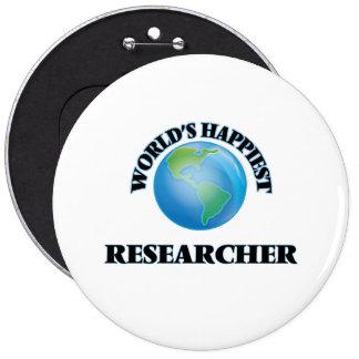 World's Happiest Researcher 6 Inch Round Button