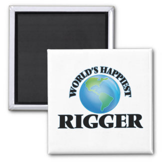 World's Happiest Rigger 2 Inch Square Magnet
