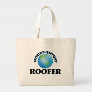 World's Happiest Roofer Jumbo Tote Bag