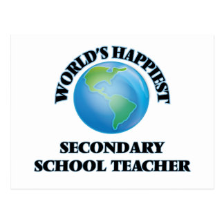World's Happiest Secondary School Teacher Postcard
