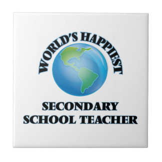 World's Happiest Secondary School Teacher Small Square Tile