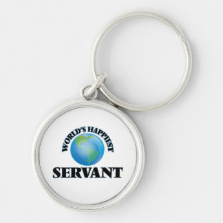 World's Happiest Servant Silver-Colored Round Keychain
