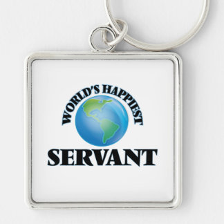 World's Happiest Servant Silver-Colored Square Keychain