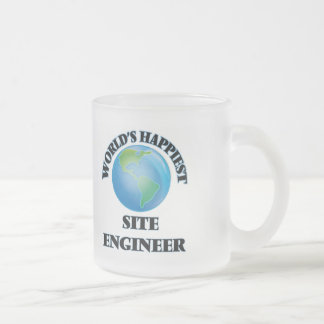 World's Happiest Site Engineer Frosted Glass Mug