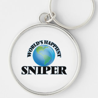 World's Happiest Sniper Silver-Colored Round Keychain