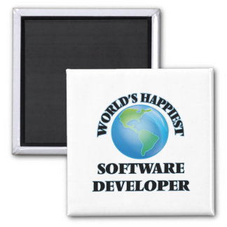 World's Happiest Software Developer 2 Inch Square Magnet
