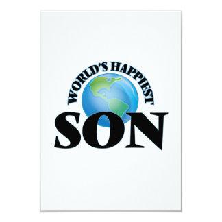 World's Happiest Son 3.5x5 Paper Invitation Card