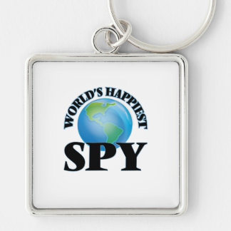 World's Happiest Spy Silver-Colored Square Keychain