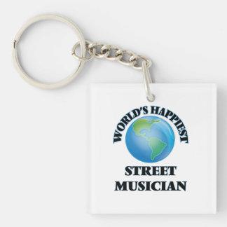 World's Happiest Street Musician Single-Sided Square Acrylic Keychain