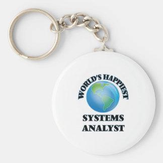 World's Happiest Systems Analyst Basic Round Button Keychain