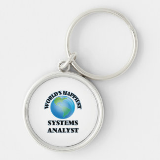 World's Happiest Systems Analyst Silver-Colored Round Keychain