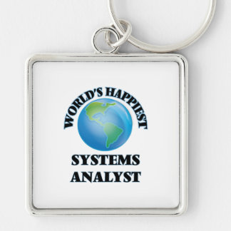 World's Happiest Systems Analyst Silver-Colored Square Keychain
