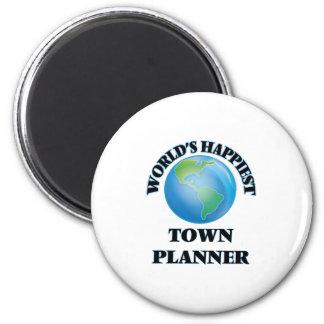 World's Happiest Town Planner 2 Inch Round Magnet