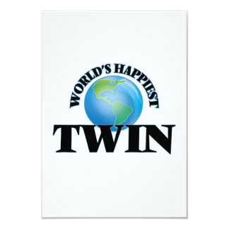 World's Happiest Twin 3.5x5 Paper Invitation Card