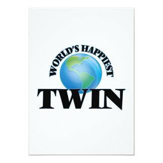 World's Happiest Twin 5x7 Paper Invitation Card