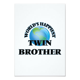World's Happiest Twin Brother 3.5x5 Paper Invitation Card
