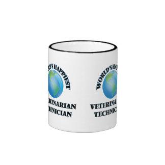 World's Happiest Veterinarian Technician Ringer Coffee Mug