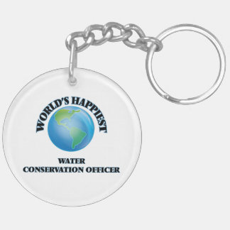 World's Happiest Water Conservation Officer Double-Sided Round Acrylic Keychain