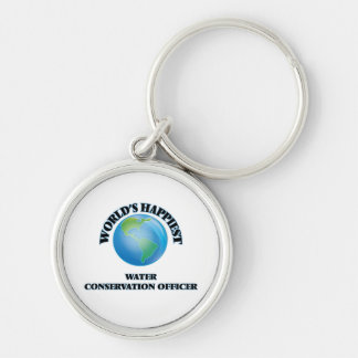 World's Happiest Water Conservation Officer Silver-Colored Round Keychain