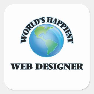 World's Happiest Web Designer Square Sticker