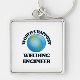 World's Happiest Welding Engineer Silver-Colored Square Keychain