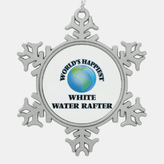 World's Happiest White Water Rafter Snowflake Pewter Christmas Ornament