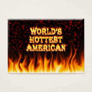 World's Hottest American fire and flames red marbl Business Card