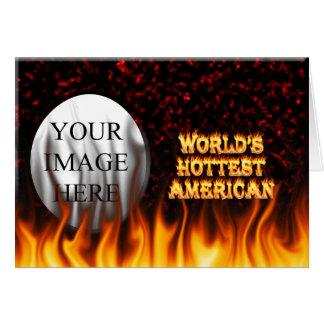 World's Hottest American fire and flames red marbl Card