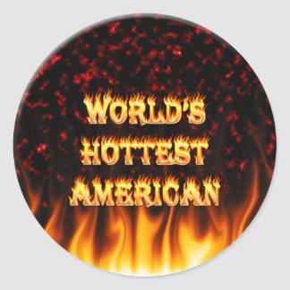World's Hottest American fire and flames red marbl Classic Round Sticker