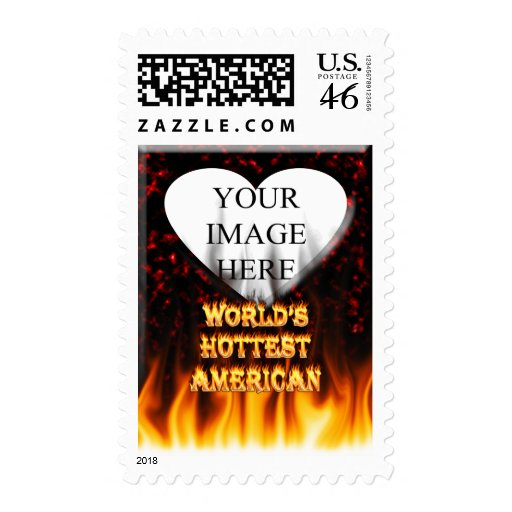 World's Hottest American fire and flames red marbl Postage Stamp