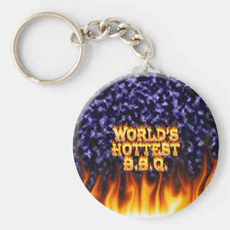 World's hottest BBQ fire and flames blue marble. Basic Round Button Keychain