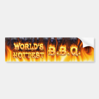 World's hottest BBQ fire and flames blue marble. Bumper Sticker