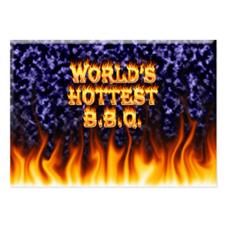 World's hottest BBQ fire and flames blue marble Business Card Templates