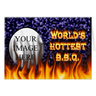 World's hottest BBQ fire and flames blue marble Card